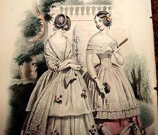 LE FOLLET 1845 Hand-Colored Fashion Plate #1260 DANCE DRESSES Original Print