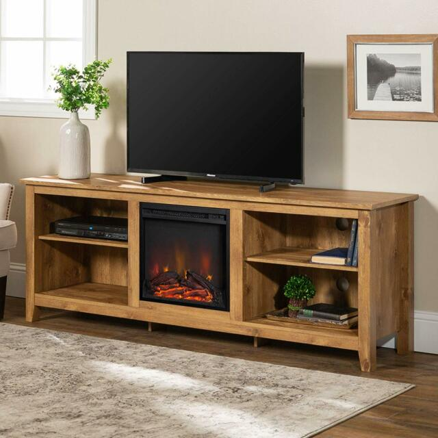 48 Corner Tv Stand White Oak Farmhouse Electric Fireplace Wooden For Flat S For Sale Online Ebay