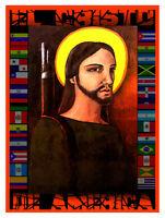 5231.el Cristo De America.jesus Christ.machine Gun.poster.decor Home Office Art