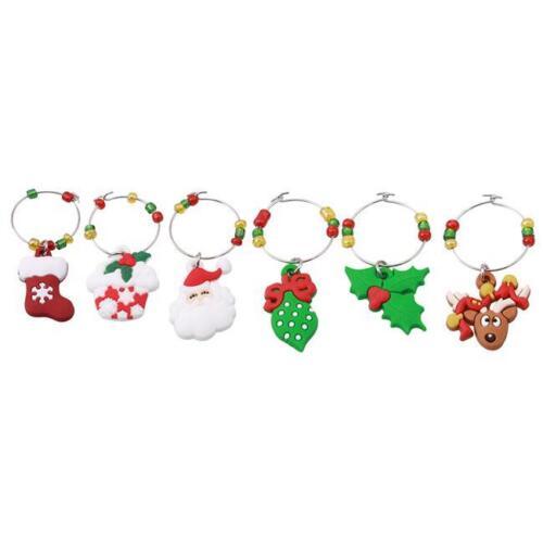 Vin tige verre Charms Tags Ring Marqueurs-Lot de 6-Noël Vacances thème Q