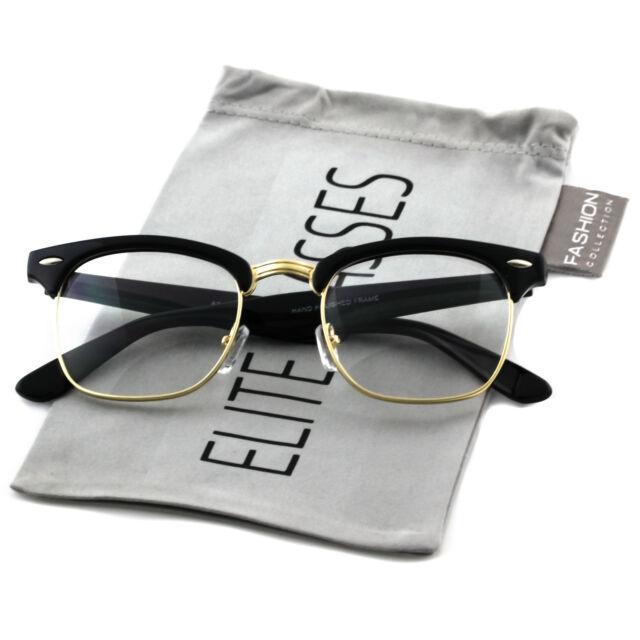 2a02173fdf29 Retro Clubmaster Wayfarer Clear Lens Nerd Frames Glasses Unisex Half Metal  Gold