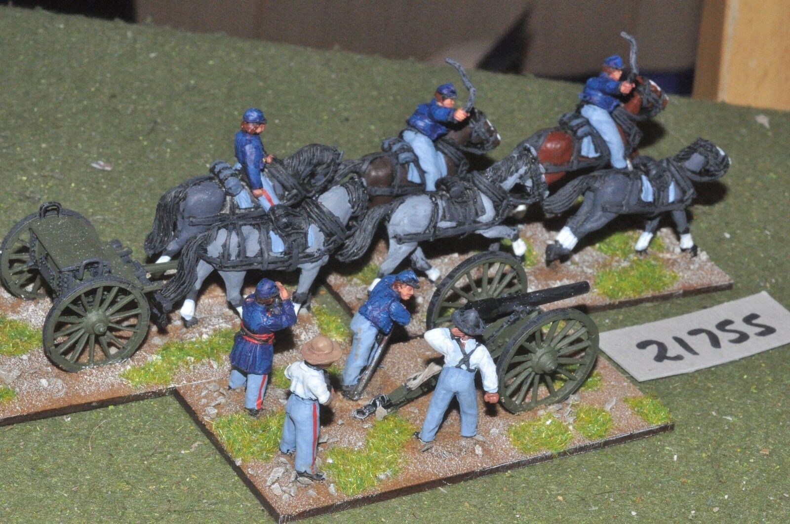 28mm ACW   union - american civil war 1 gun & 1 limber artillery - art (21755)