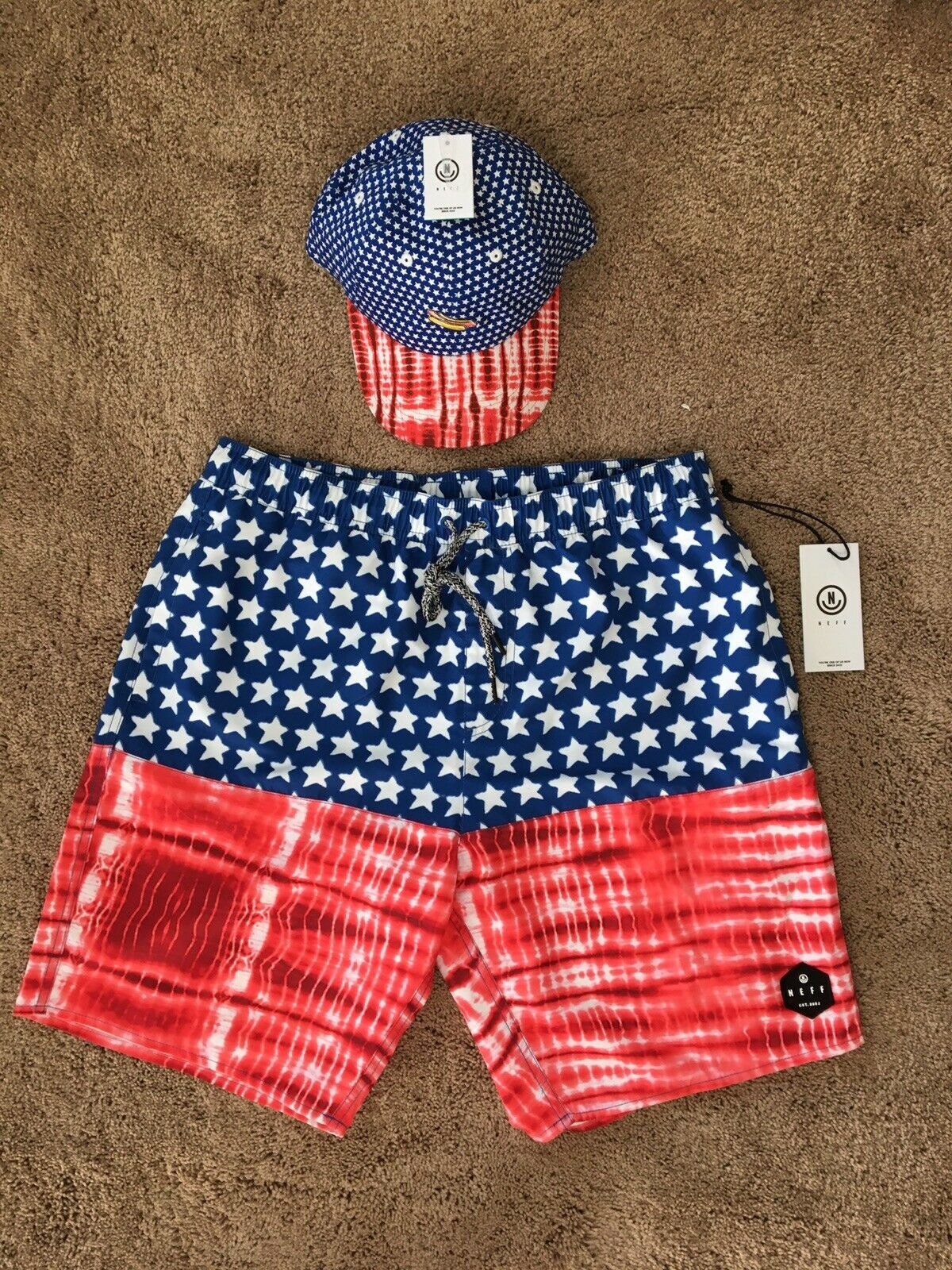 Neff 4th Of July Hot Swim Trunks Shorts USA & Hat COMBO Brand New W  Tags - MED