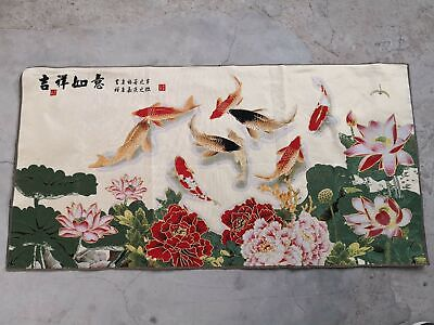 "47/""*24/""China Cloth Silk Embroidery Peony Flower Cryprinus Carpiod Mural Tapestry"