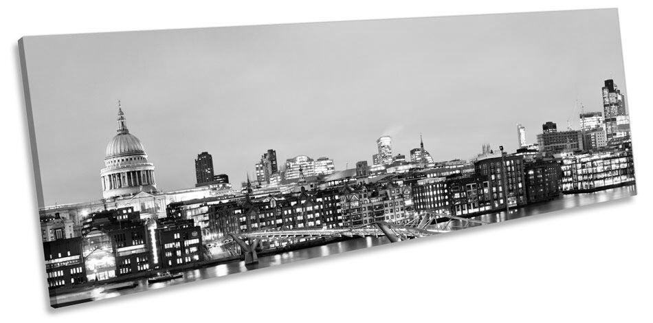 River Thames London Skyline B&W Panoramic CANVAS Wand Kunst Framed Drucken