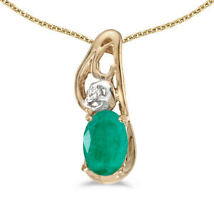 14k-Yellow-Gold-Oval-Emerald-And-Diamond-Pendant-with-18-034-Chain