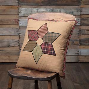 TEA-STAR-Patchwork-Pillow-Rustic-Primitive-Cabin-Plaid-Farmhouse-Tan-18x18