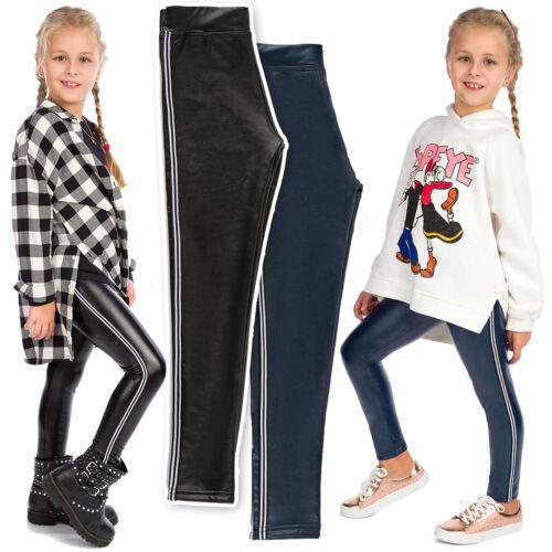Le Ragazze in Pelle Eco Leggings Bambino A Righe Pantaloni Pantaloni spessa con pannello FS99K11