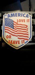 034-AMERICA-LOVE-IT-OR-LEAVE-IT-034-patriot-decal-BUMPER-STICKER-biker-veteran-GOP