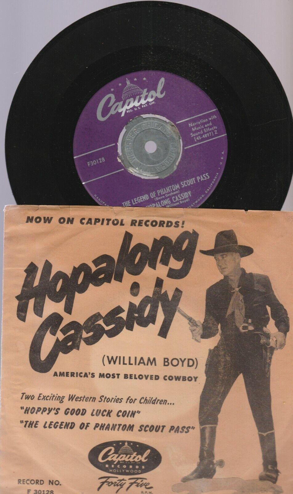 HOPALONG CASSIDY 1950'S CAPITOL REGISTER 45 -MED FOTO SLEEVE