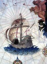 Portuguesa Nau Carrack Barco 1565 Mapa Portugal 11x8 pulgadas impresión