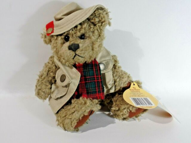 """Brass Button Bear Collection 1997 Tanner Beige Vest & Hat 11"""" Fully Jointed"""