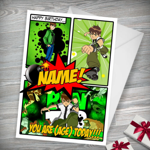 Son Grandson Brother BEN 10 Personalised Birthday Card Nephew Any Name