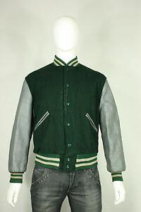 Jacken & Mäntel Vintage-mode Für Herren Aggressiv Vintage Leder Wolle Letterman-jacke 42 M/l Uni 18.3ms Grün Grau Butwin