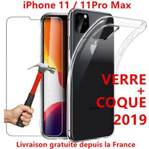 COQUE-POUR-IPHONE-11-11-PRO-MAX-CRYSTAL-SILICONE-VITRE-VERRE-TREMPE-ECRAN