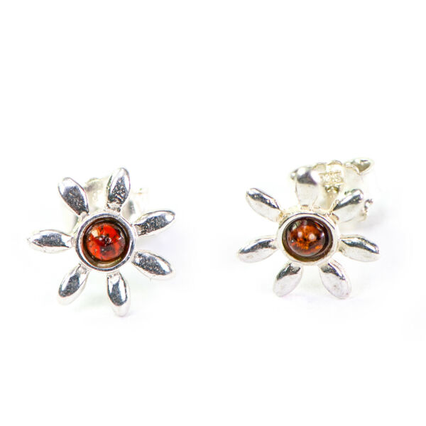2019 Neuer Stil Fabulous Flower Shaped Sterling Silver Stud Earrings With Natural Baltic Amber