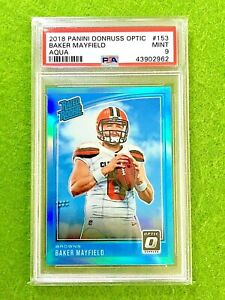 BAKER MAYFIELD PRIZM ROOKIE CARD GRADED PSA 9 MINT #/299 BROWNS SP RC 2018 Optic