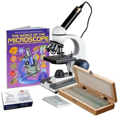 AmScope 40X-1000X Portable Student Biological Microscope+Book, Prepared & Blank
