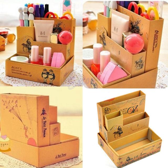 Paper Board Fairy Tale DIY Storage Box Desk Stationery Makeup Cosmetic Organizer