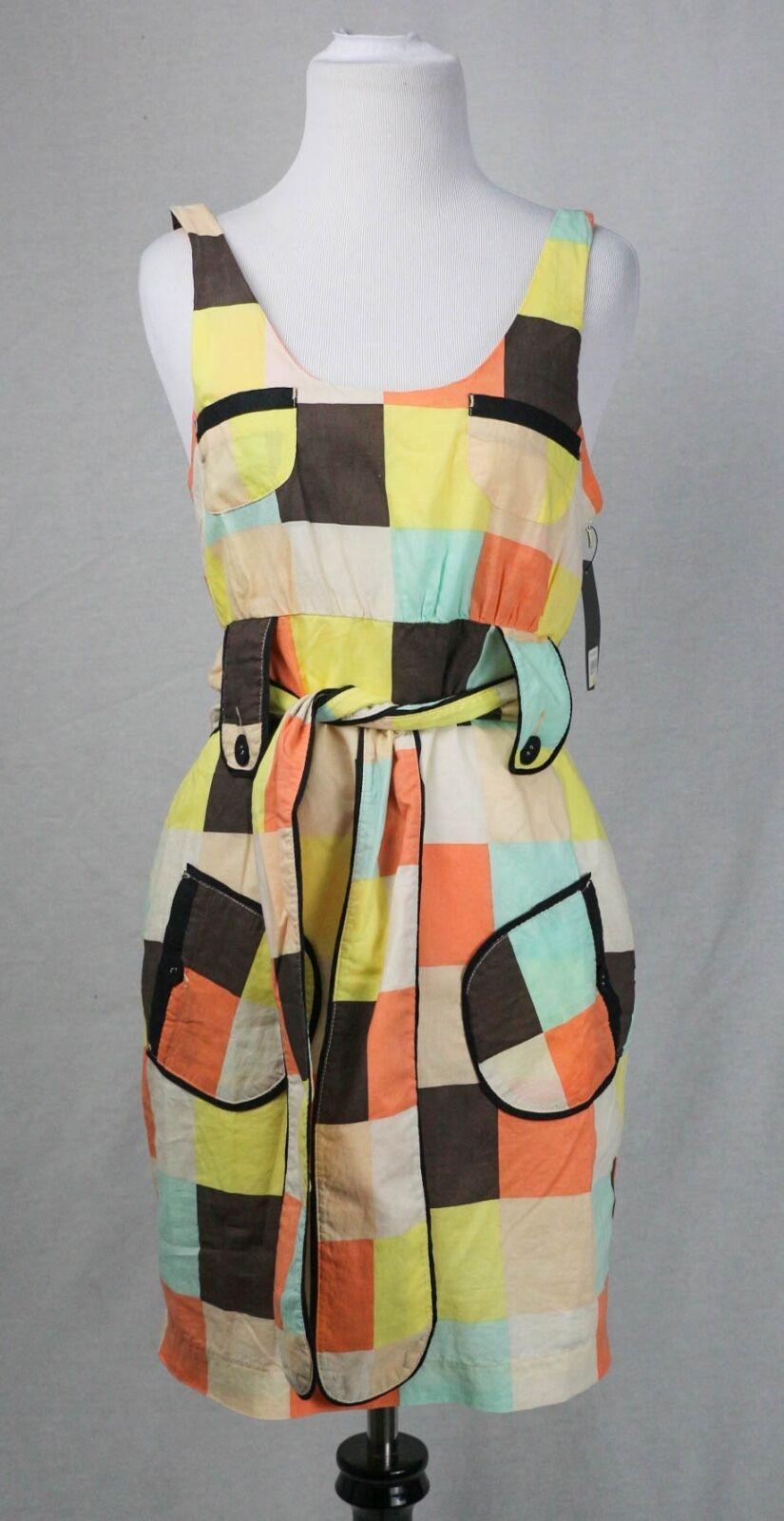 "Sass & Bide ""the Awakening"" MultiFarbe Checkerot Belted Tunic Dress Größe 2 NWT"