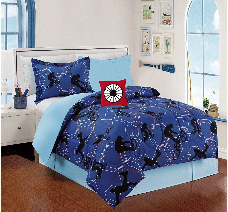 Nouveau Bmx Xtreme Bleu, rouge Boys Collection Couette Set 4 pcs Twin