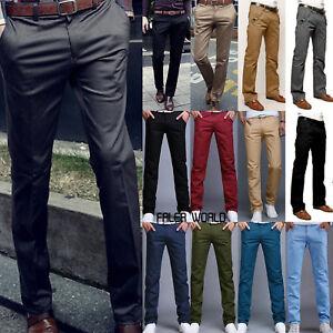 Mens Casual Slim Fit Formal Business Straight Skinny Pants Trousers Pencil Pants