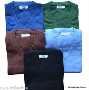 Nepalese-100-Cashmere-Pashmina-Mens-V-neck-Sweater-Jumper-Top-Cardigan