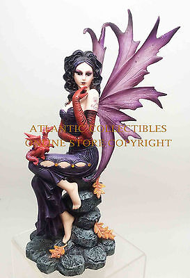 EVENING YULETIDE FAIRY IN NIGHT GOWN WITH DRAGON STATUE SPECTACULAR SCULPTURE