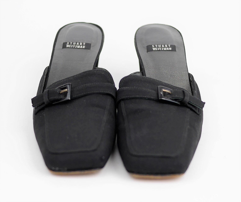 STUART WEITZMAN Black Satin Mules High Heel Slip Slip Slip On shoes Block Heel WOMEN'S 7.5 56ad40