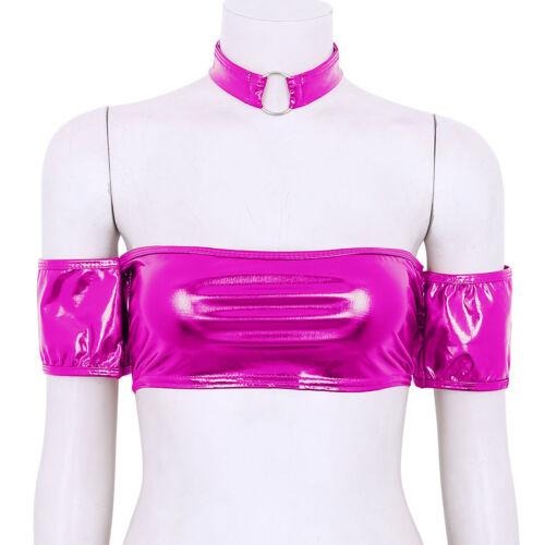 Ladies Nightclub Strapless Bandeau Tube Top Bra shiny Leather Women Wrap Blouse