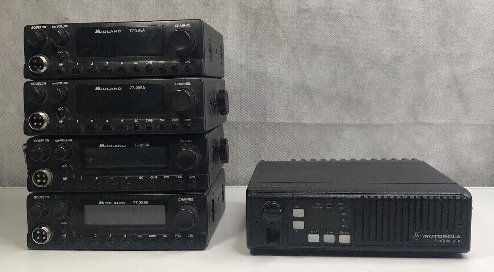 bzmsbellster Lot Of 4 ~ Midland 77-285A ~ CB Radio ~ 1 Motorola MaxTrac 300 ~ Parts/repair