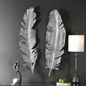 Silver Leaf Wall Decor S 2 Feather Art