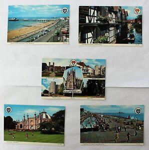 5-Assorted-UK-Postcards-Brighton-Canterbury