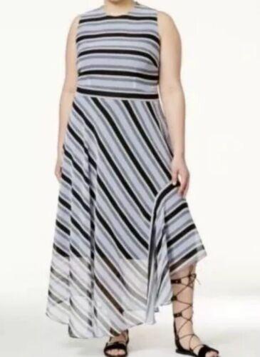 Rachel Roy Womens Dress 14W Blue Striped Maxi Sheer Hem Sleeveless Plus Size New
