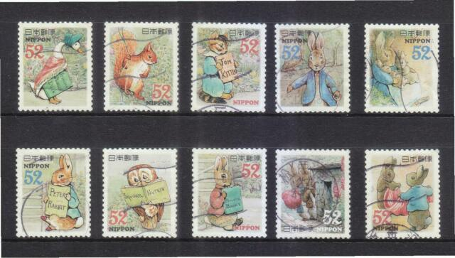 JAPAN 2015 GREETINGS PETER RABBIT 52 YEN COMP. SET OF 10 STAMPS IN FINE USED
