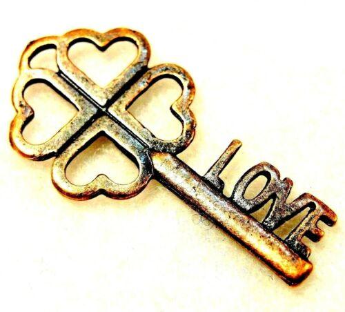 "Tibetan Antique Copper /""LOVE/"" KEY  Heart Charms Pendants Ear Drops LK63 20Pcs"