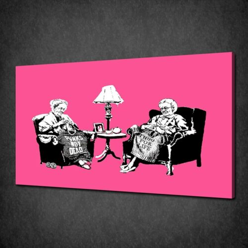 BANKSY PUNK AND THUG GRANNIES GRAFFITI MANY COLOURS CANVAS PRINT POSTER PICTURE
