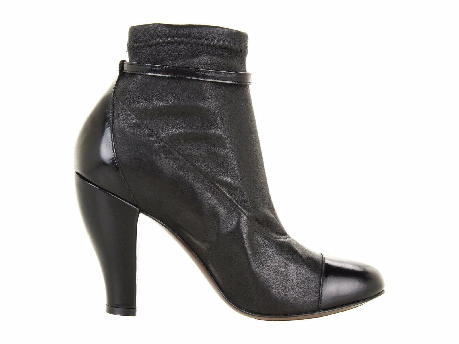 785 NEW Robert Clergerie Paris Mane US 7 Black Black Black Leather Heel Ankle Booties Boots 3363eb