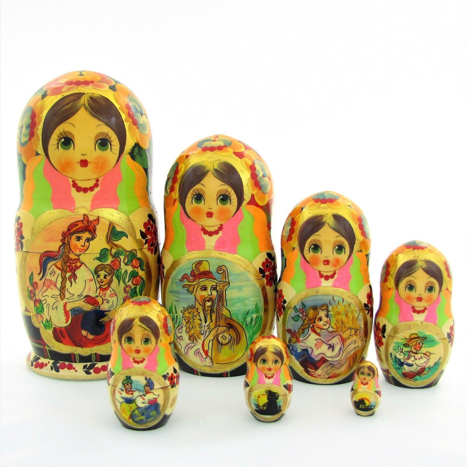 7 Poupées russes H21 peint main signé Matriochka Gigognes Nested Doll Matrioshka
