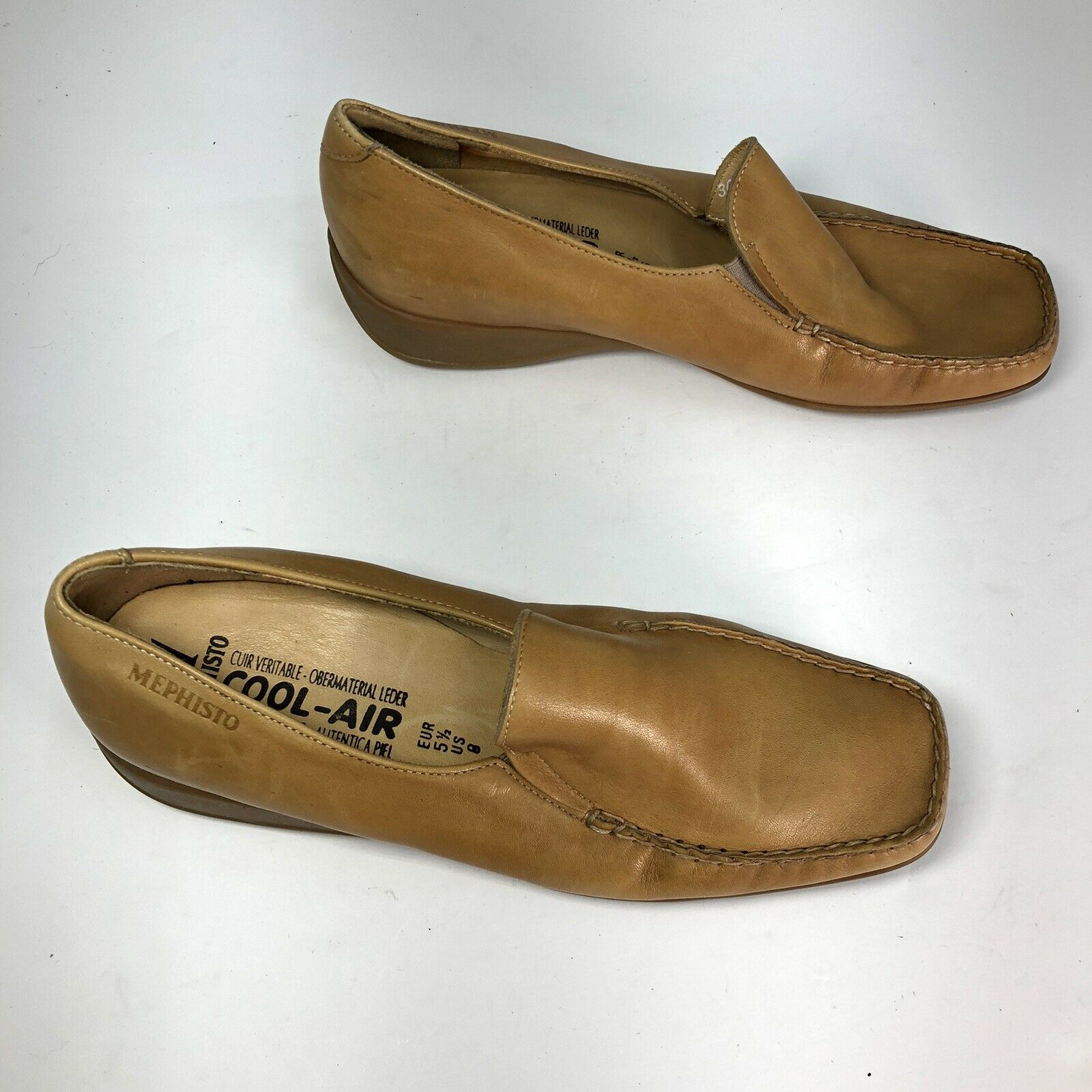 Mephisto Tan Leather Square Slip On Womens Flats … - image 3
