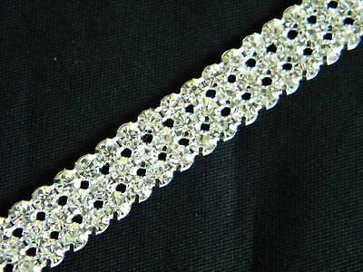 """3 Yards 3 Row Crystal Rhinestone Banding Trim Silver ~1//2/""""~WM"""