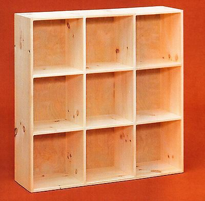 Amish Unfinished Pine 9 Hole Bookcase Shelf Storage Cubby Cube Shoe Rack Ebay