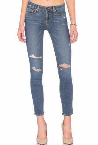 209 Paige Verdugo Ankle Troy Destructed Ultra Slim Skinny Mid Rise Jeans 28 NWT