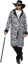 Zebra Print Pimp Gangster Mens Fancy Dress Costume Outfit Size M-L P8401