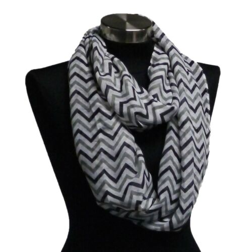 Adorox Soft Black//Grey//White Chevron Sheer Infinity Scarf in Contrasting Colors