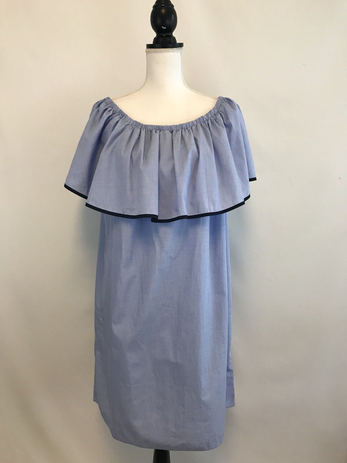 NEW J.CREW TIPPED OFF-THE-SHOULDER DRESS IN END-ON-END COTTON Blau SZ L G0263