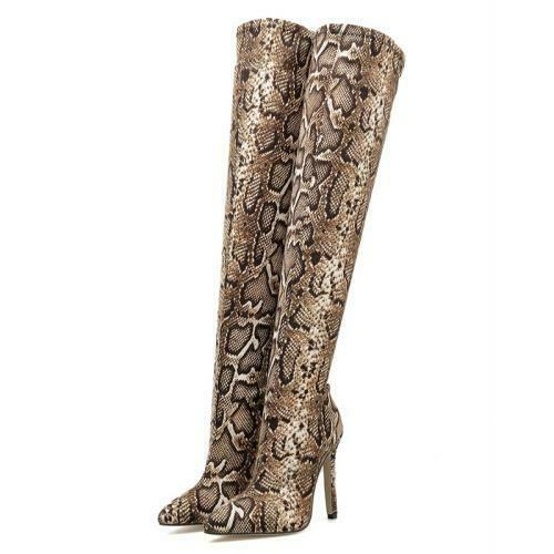 Details about  /Women Pointy Toe High Heel Snakeskin Pattern Over The Knee High Boots 40 41 42 D