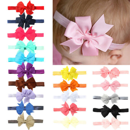 10pcs Elastic Baby Headdress Kids Hair Band Girls Bow Newborn Headband RandoHFUK