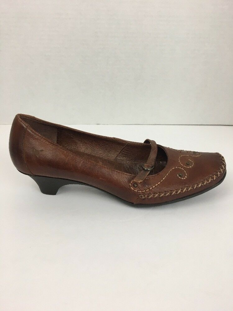 Pikolinos Womens shoes 9 US 39 EU Brown Leather Kitten Heels Mary Janes Stitched