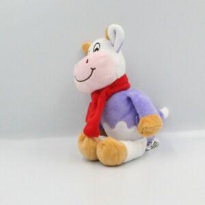 Doudou-vache-violet-mauve-echarpe-rouge-MILKA-Vache-Girafe-Classique